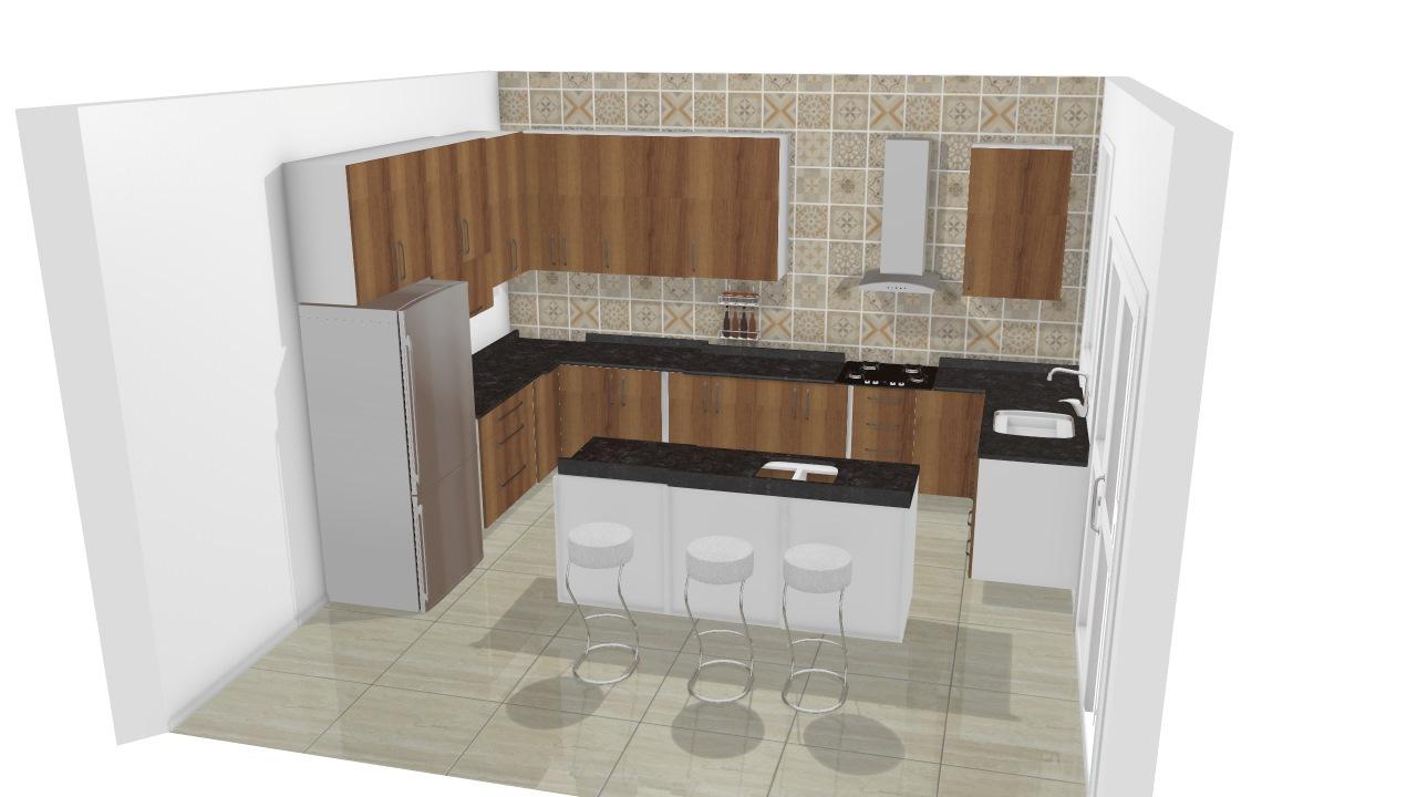 Cozinha Com Ilha Pronta De Viviane Planta 3d Mooble Leroy Merlin