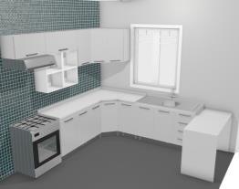 Cozinha Modulada Completa 11 Módulos com Prateleira e Bancada Clean Branco/Amarelo/Preto - Morata