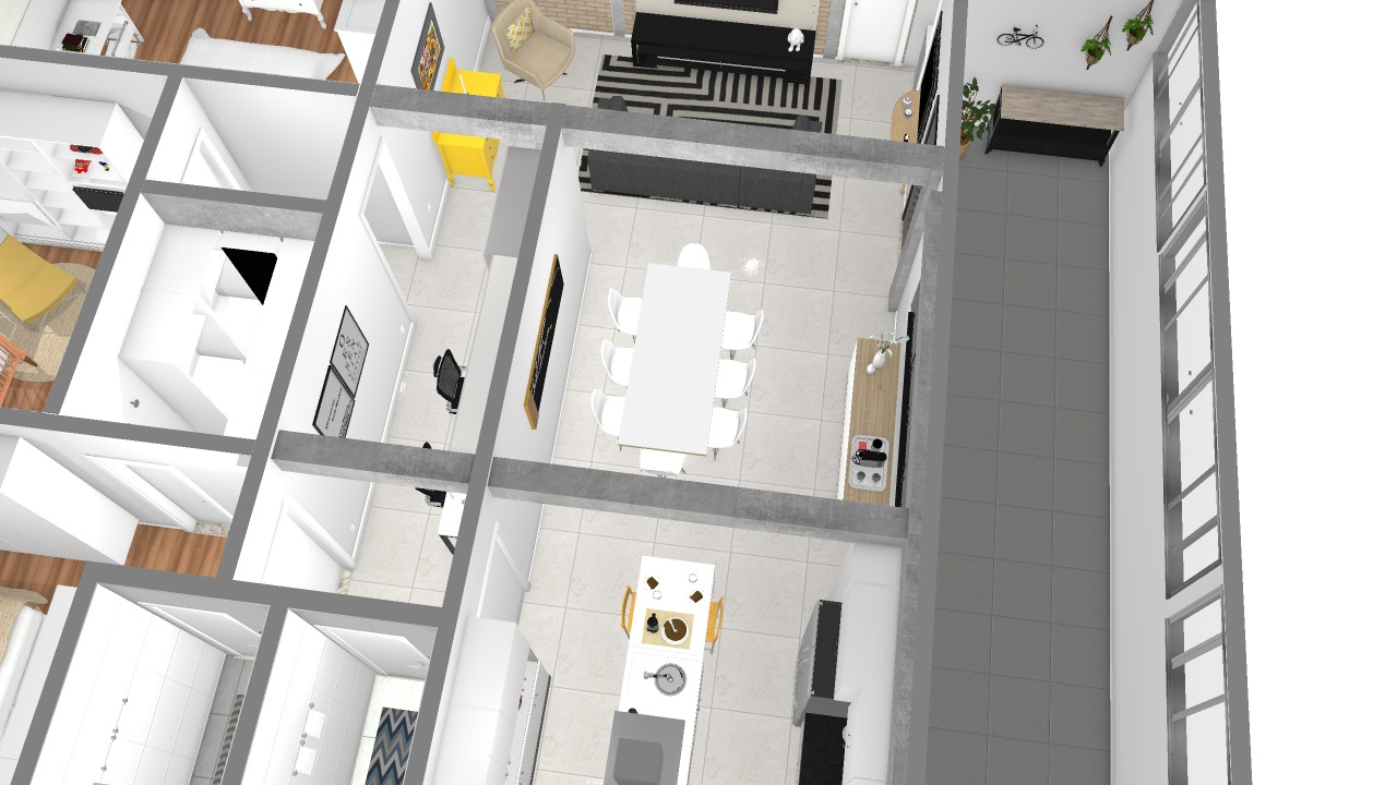 Projeto Com Ilha Na Cozinha De Victoria Planta 3d Mooble